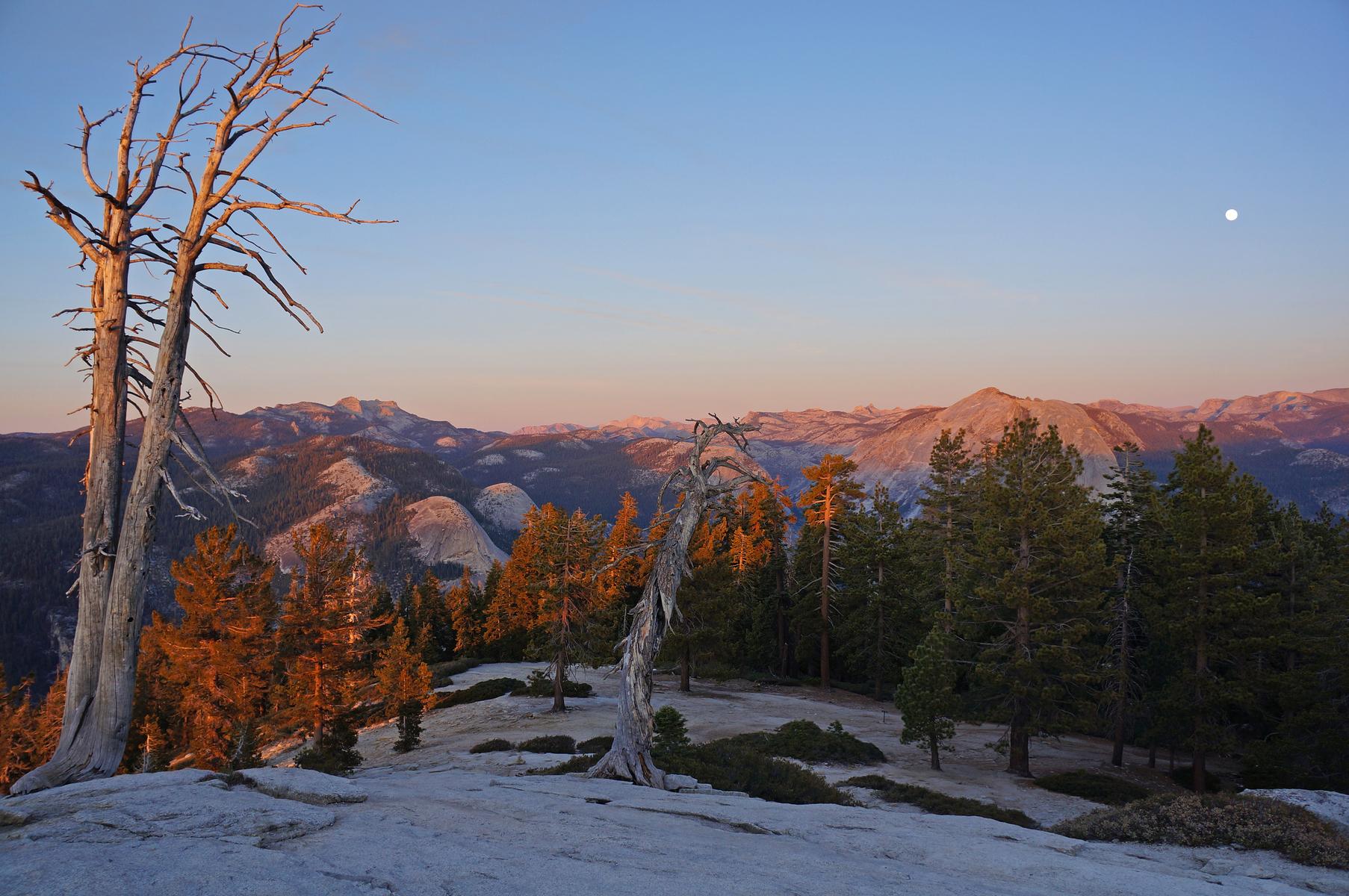 winter moonrise over Yosemite