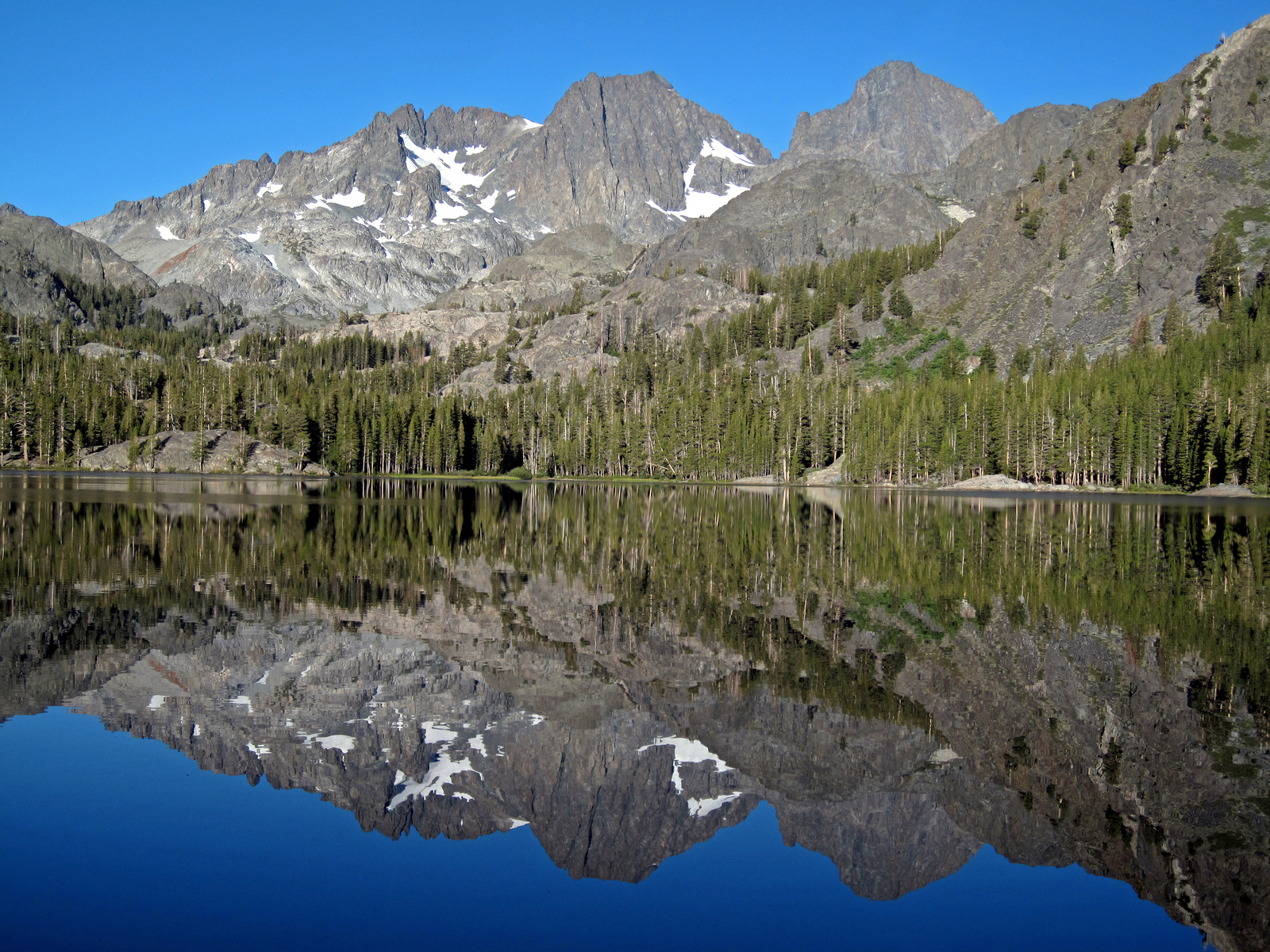 Mount Ritter and Banner Peak, reflected on Shadow Lake, Ansel Adams Wilderness, CA
