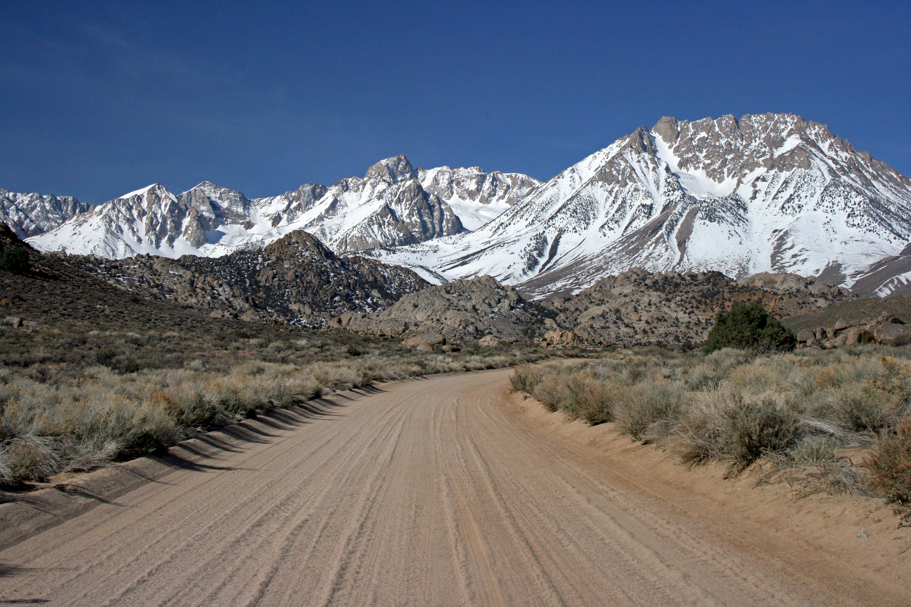 view of Basin Mountain and the Sierra, west of Bishop, California