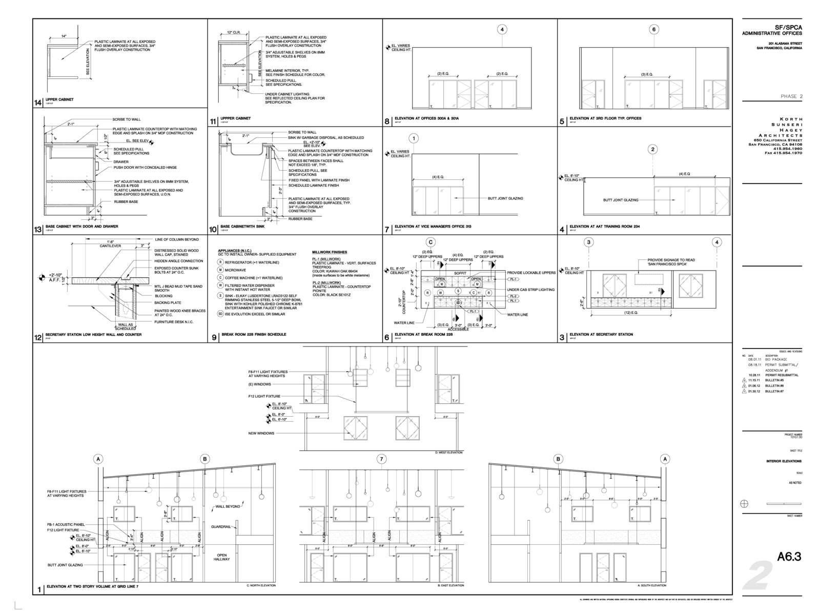 Construction Documents Interior Elevations and Millwork Details