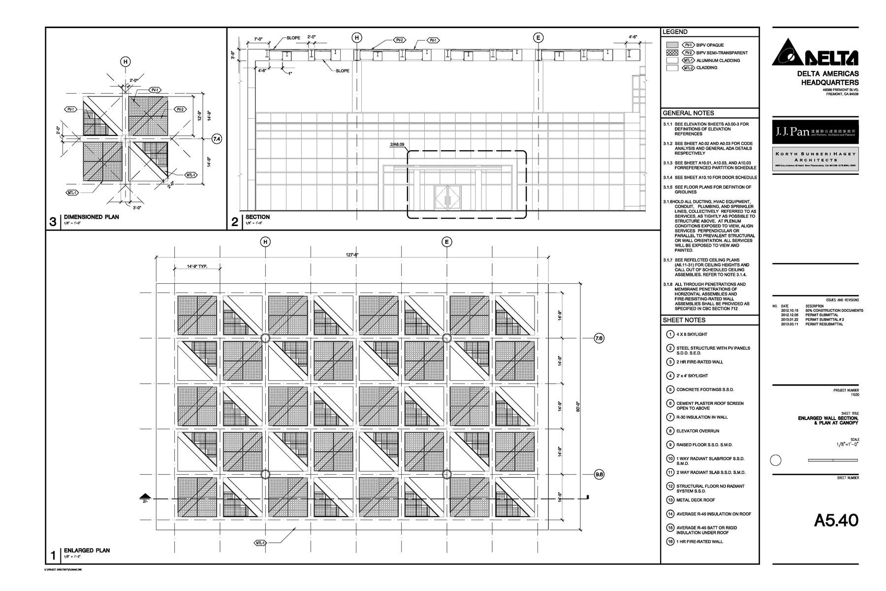 Construction Documents Enlarged Detail Solar Canopy