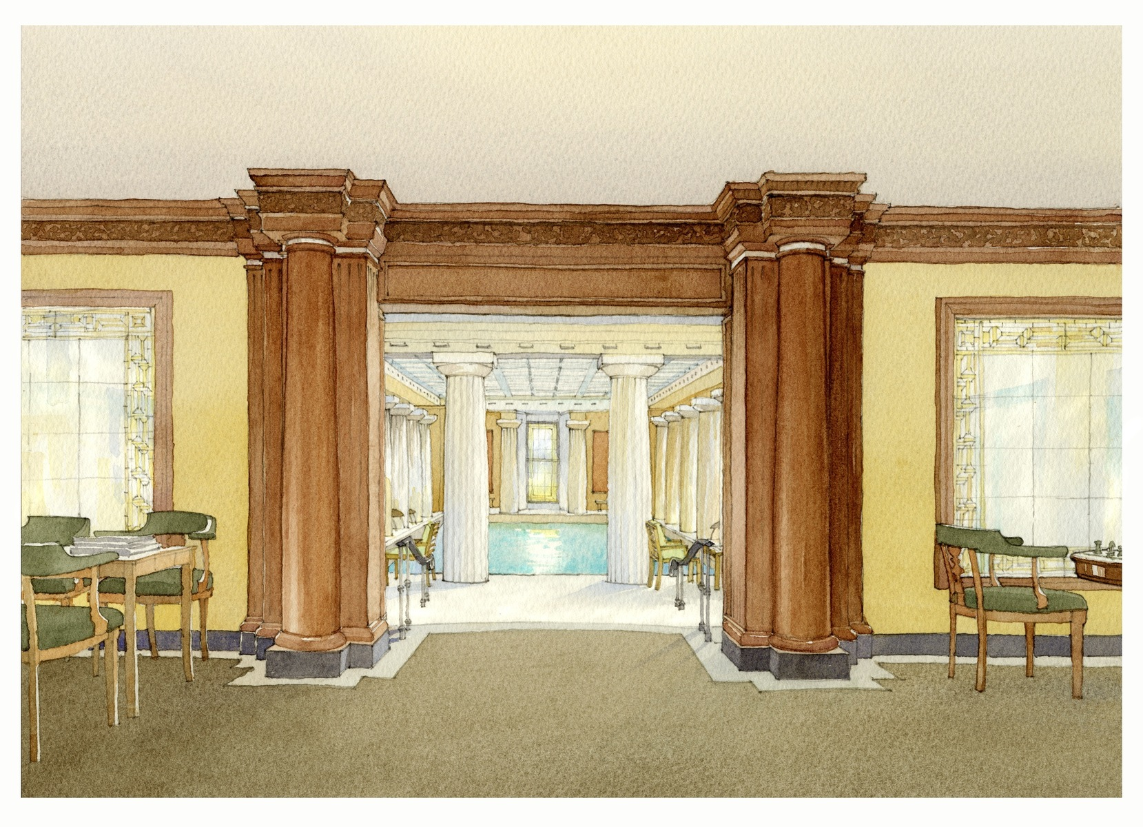 Fitness Center lounge area Rendering