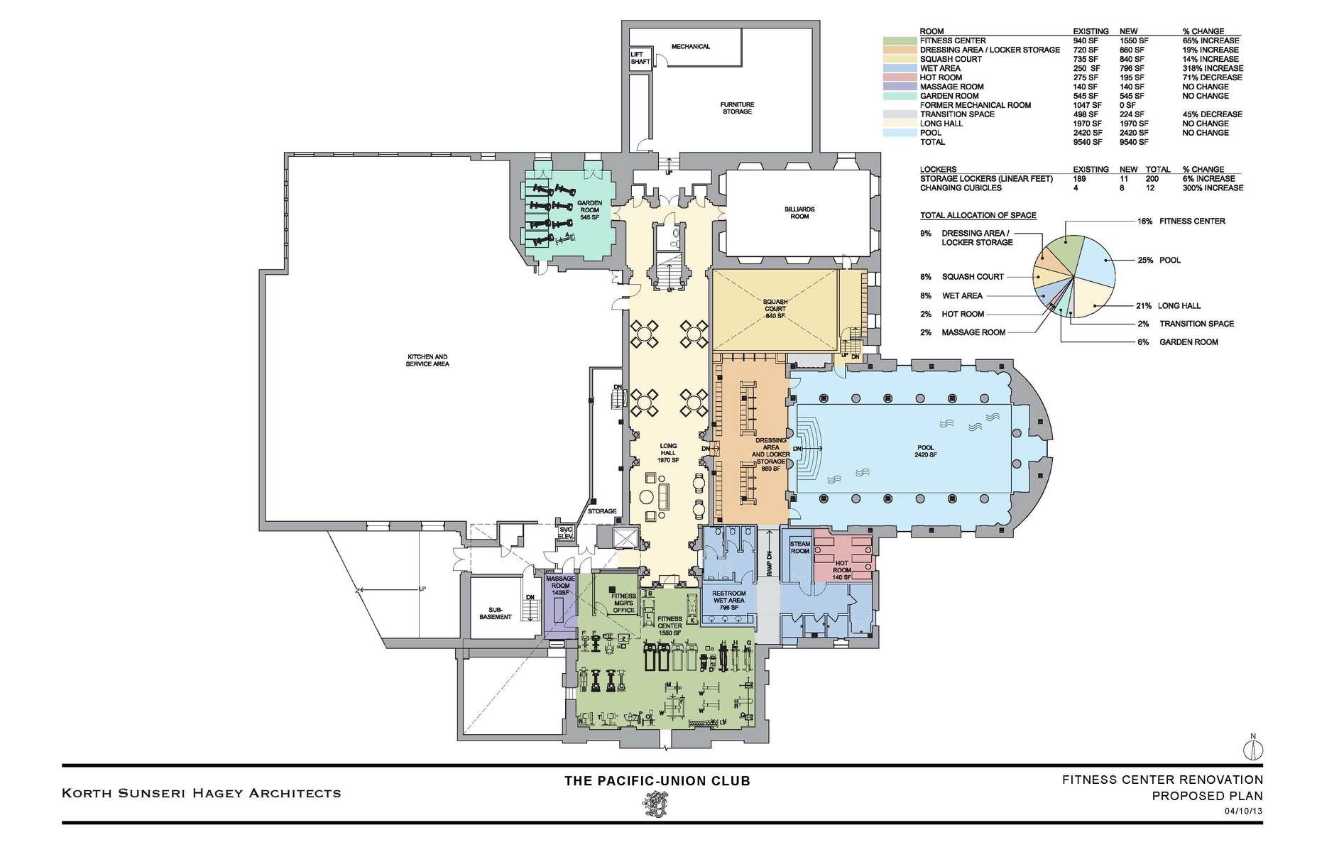 Pacific union club guest room and fitness center for Fitness center floor plan