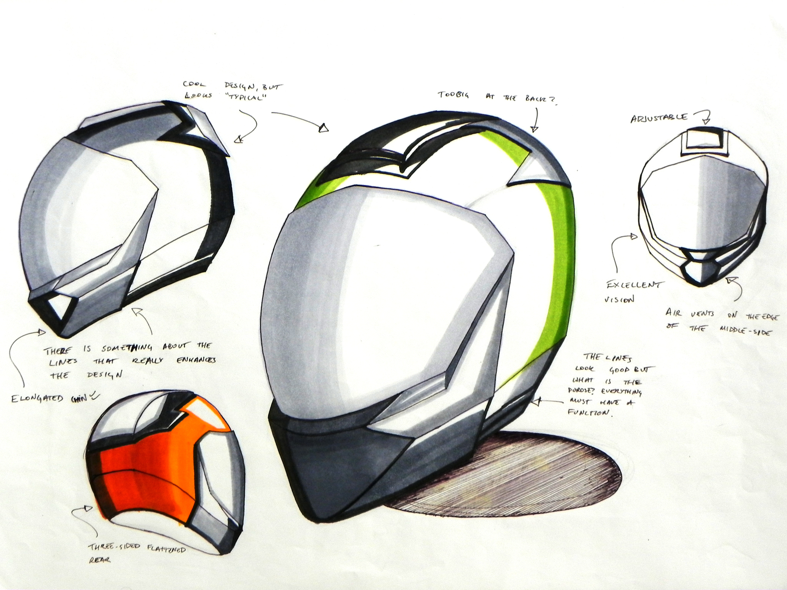 Later stage sketch of the motorcycle helmet, where various options were tried.
